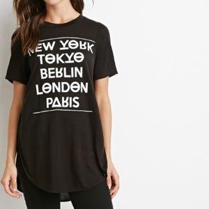 side slit hem tunic tee shirt  - black L/XL NWOT